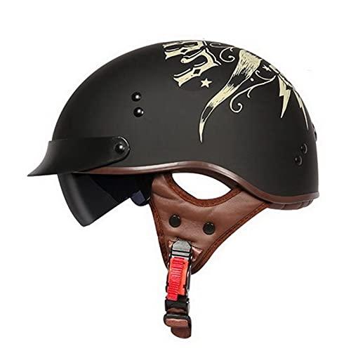Casco Moto Abierto Retro Cascos Half Helmet con Visera Certificado ECE para Hombre Mujer Estilo Integrada Cruiser Biker Adecuado Mujeres Hombres C,M