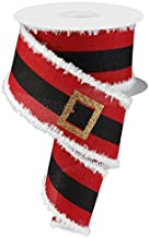 EXPRESSIONS Santa's Belt Buckle Christmas Wired Edge Ribbon - 2.5