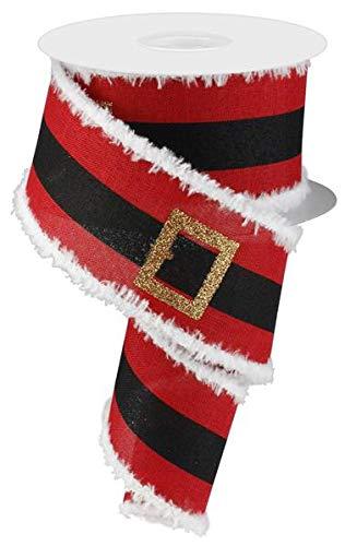 EXPRESSIONS Santa's Belt Buckle Christmas Wired Edge Ribbon - 2.5' x 10 Yards (Snowdrift Edge)