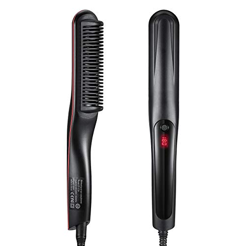 Hair Straightener Brush, LARMHOI Ceramic Hair Straightening with Anti-scald/Auto Shut Off/Digital Controls, Electrical Heated Hair Straightening Brush for Women Home Travel Frizz Wave Hair