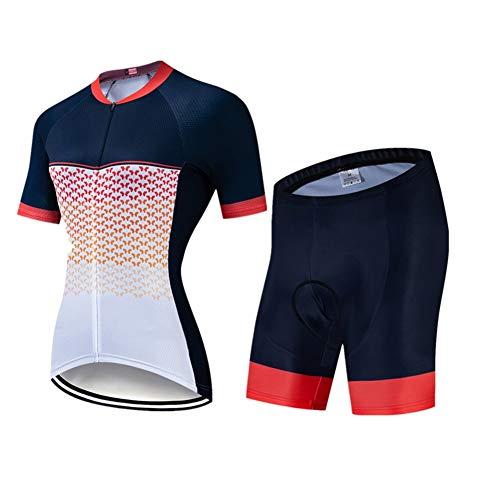 FJLR Ciclismo Ropa Deportiva De Manga Corta Y 9D Gel Pantalones Cortos Transpirable Y De Secado Rápido Verano Deportes Al Aire Libre Traje De Jersey,B,XXL