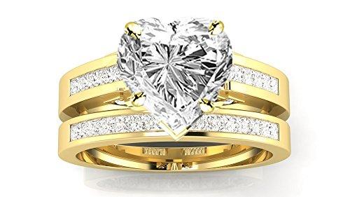 0.97 Carat t.w. 14K Yellow Gold Heart Channel Set Princess Cut Diamond Engagement Ring I/VS2 Clarity...