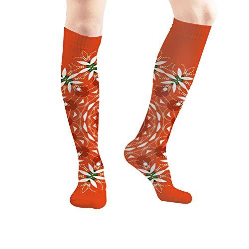 Wiederholte geometrische Netzfliesen Ethnische Natur Kompressionsstrümpfe Unisex-bedruckte Socken Spaß lange Baumwollsocken über der Wadenröhre 19,7 Zoll lange personalisierte Geschenksocken