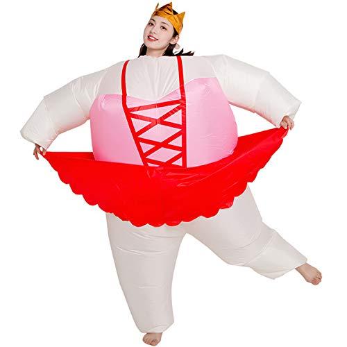 BSWL Halloween Aufblasbares Kostüm, Lustige Ballerina Cygnet Dicker Mann Cosplay, Halloween Weihnachtsgeburtstagsparty Bühnenaufführung Foto Kostüm,Rot