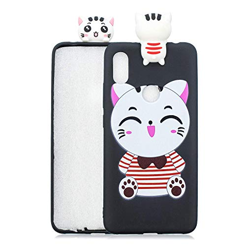 HongYong. Compatible avec Coque Xiaomi Redmi S2/Redmi Y2. Chat Noir Kawaii Drole Fantaisie 3D Motif Dessin Etui Case Premium TPU Ultra Fine Soft Silic