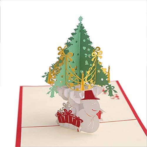 MoGist Biglietto di Natale in Carta Intagliato Albero di Natale Verde Pupazzo di Neve 3D Pop Up Biglietto Pieghevole Fatti a Mano Benvenuto Biglietto d' Auguri