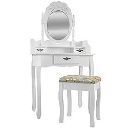 frisierkommode mit spiegel inkl hocker wei holz. Black Bedroom Furniture Sets. Home Design Ideas