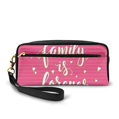 Pencil Case Pen Bag Pouch Stationary,Hand Drawn Typography Poster Style Family Love Calligraphy Vintage,Small Makeup Bag Coin Purse