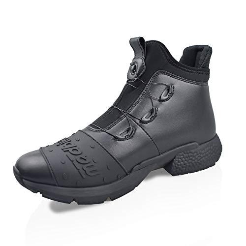 MADBIKE RACING EQUIPMENT Botas de motocicleta ligeras para hombres Zapatillas de carreras deportivas de motocross impermeables Suela antideslizante (Black, 40 EU)