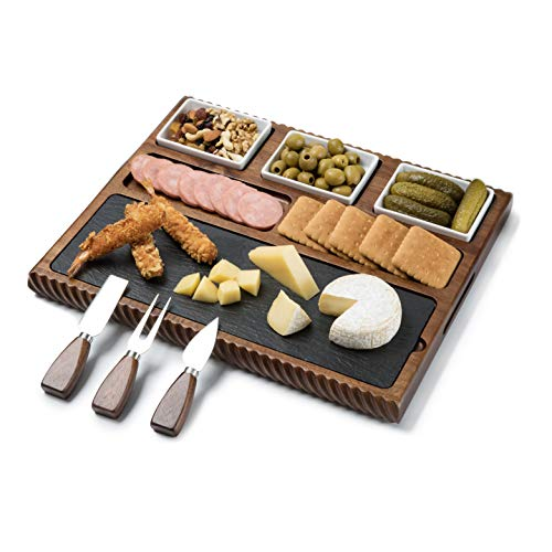 Shanik Cheese Board With Black Slate Blade and 3 Stainless Steel Cutlery Set, Acacia Wood Charcuterie Board and Cheese Serving Platter, Unique Handcrafted Design with 3 Ceramic Bowls