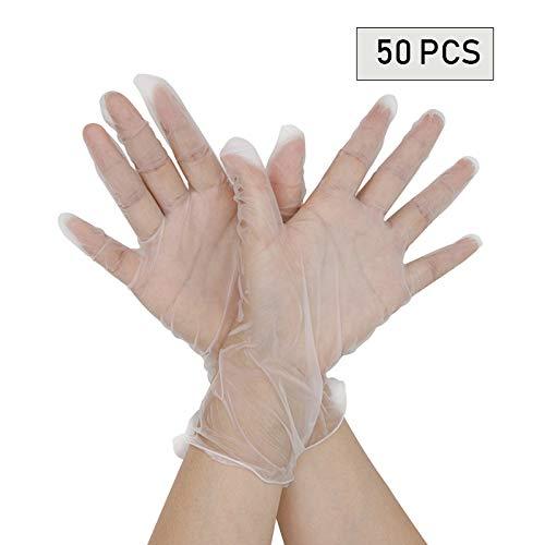 Einweghandschuhe, transparent, robust zum Reinigen, Kochen, Färben von Haaren, Geschirrspülen, Umgang mit Lebensmitteln M