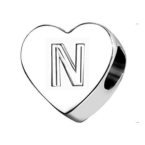 KunBead Alphabet Initial N Letter Bead Charms Mum Mother Son Heart Beads for Charm Bracelets