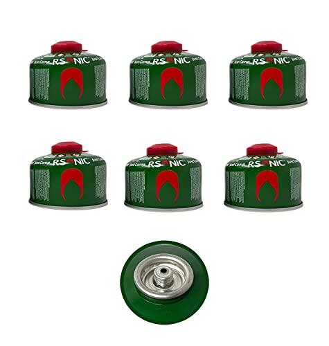 Clearfee Juego de cartuchos de gas con rosca de tornillo y válvula de seguridad según EN417, cartucho de válvula de rosca, gas para camping con mezcla de butano y propano (6 x 100 g)