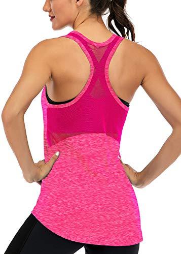 Fihapyli Workout Tank Tops for Women Sleeveless Yoga Tops for Women Mesh Back Tops Racerback Muscle Tank Tops Workout Tops for Women Backless Gym Tops Running Tank Tops Activewear Tops Rose S