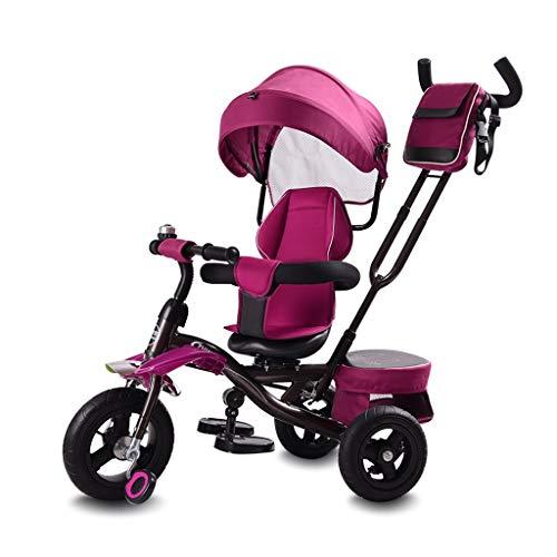 WENJIE Triciclo del Cochecito De Bebé Niños Bici Multifunción con Toldo Valla De Seguridad Infantil Aumentar Cesta del Almacenaje De 3 Opciones De Color (Color : Red)