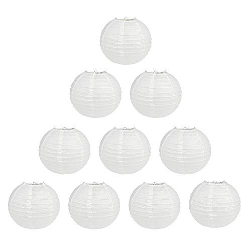 TSSS 10 Stück 25cm Weiß Rund Papier Laternen Kugel-Form Lampenschirm Für Hochzeit Kirche Garten Party Dekoration