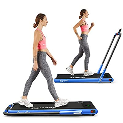 Goplus 2 in 1 Folding Treadmill, 2.25HP Under Desk Electric Treadmill, Installation-Free, with Remote Control, Bluetooth Speaker and LED Display, Walking Jogging Machine for Home/Office Use (Navy)