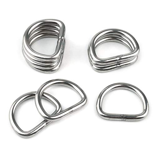 10 Pcs 304 Stainless Steel Heavy Duty Welded D Ring Solid Metal D Rings for Camping Belt, Dog Leashes, Ratchet Tie Down Straps Hardware (5mm×31mm×23mm)