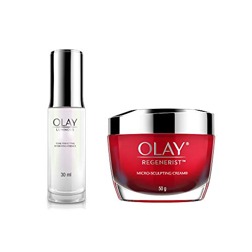 Olay Power Duo Luminous Tone Perfecting Hydrating Essence, 30 ml + Regenerist Microsculpting Cream, 50 gm