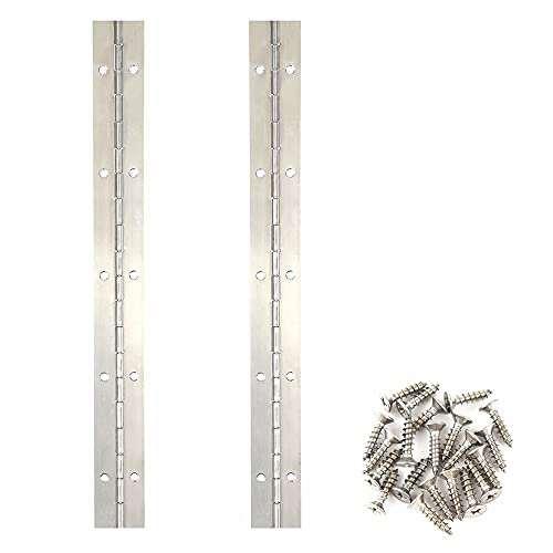 2PCS Continuous Hinges 12 Inch Stainless Steel 304 Piano Hinge Heavy Duty with Screws, Long Door Hinges Cabinet Hinges for Door Kitchen DIY Pieces