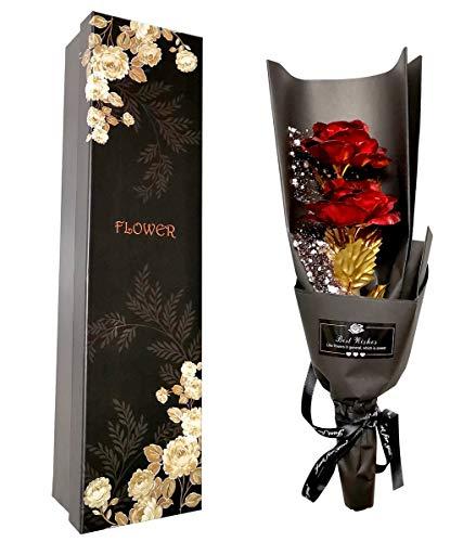 NUEVO DISEÑO: este ramo de flores de rosa dorada es el nuevo diseño, hecho a mano, cada ramo tiene 2 flores rosas, follaje dorado y flores rojas, delicadas y elegantes. UNA FLOR QUE NUNCA MEJORA: una rosa siempre es un regalo de amor, esta rosa fantá...