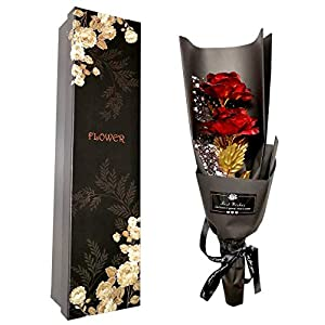 Silk Flower Arrangements FonteeUS Gold Rose Flower Bouquet, Gold Foil Artificial Rose Bouquet with Gift Box, Romantic Present Ideal for Her on Valentines Day, Mothers Day, Anniversary, Birthday,Christmas (Red)