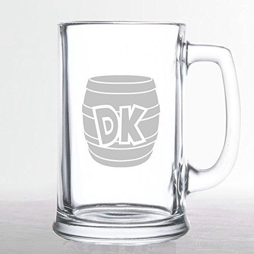 Donkey Kong - DK Barrel - Etched Beer Glass