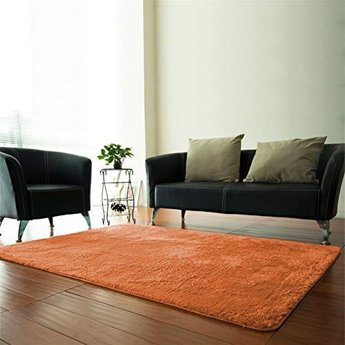 Insun Alfombra Shaggy de 2cm Pelo Largo Rectángulo Alfombra de Monocromática Antideslizante Lavable para Sala de Estar y Dormitorio Naranja 60x90cm