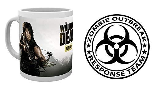 1art1 The Walking Dead, Daryl Dixon Foto-Tasse Kaffeetasse (9x8 cm) Inklusive 1 Zombies Poster-Sticker Tattoo Aufkleber (9x9 cm)