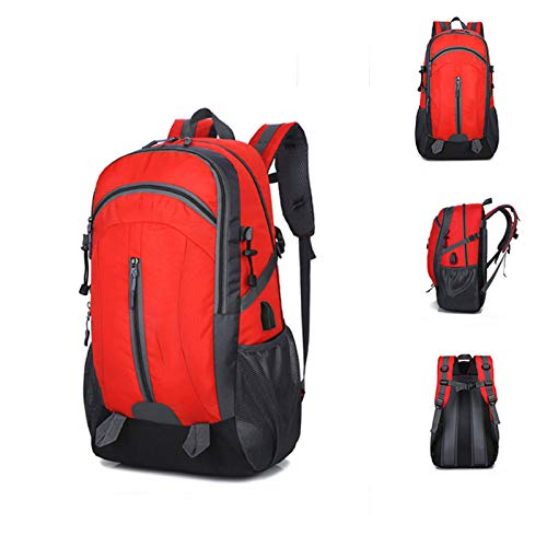 Business Backpack, Travel Backpack with USB, Suitable for Business Office and Travel to Carry Laptop, Waterproof Sports Backpack (Color : Red)