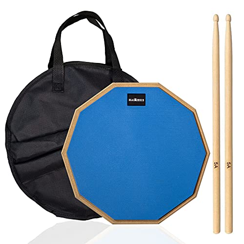 Drum practice pad, rubber practice pad for dumb drum beginners, preheated before playing, with 12A double-sided silent drum pad and 5A drum sticks and storage bag, with a realistic sense of bounce