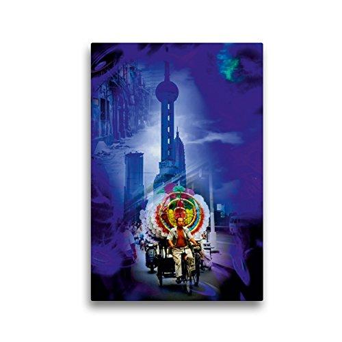 CALVENDO Premium Textil-Leinwand 30 x 45 cm Hoch-Format Shanghai Pearl Tower, Leinwanddruck von Walter Zettl