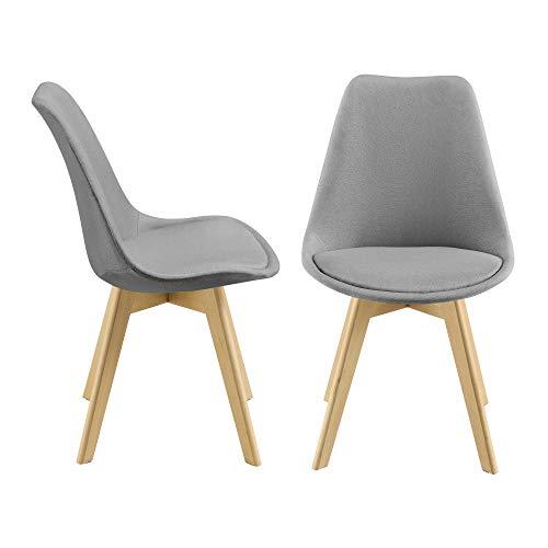 [en.casa] 2er-Set Design Esszimmerstühle 97x42cm Hellgrau Stoffbezug Polsterstuhl Stühle Wohnzimmerstuhl Küchenstuhl