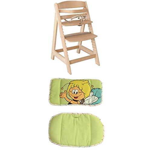 roba Treppenhochstuhl Sit Up III, mitwachsender Hochstuhl, Holz, naturfarben + roba Sitzverkleinerer, Hochstuhleinlage Biene Maja