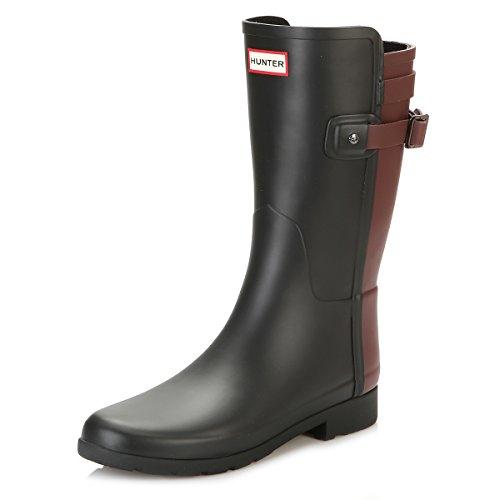 HUNTER Womens Original Refined Back Strap Short Wellingtons Rain Boots - Black/Dulse - 9