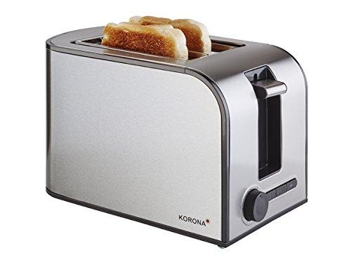 Korona 21350 Edelstahl Toaster in Edelstahl - 2 Scheiben Toaster mit Brötchenaufsatz sowie einer Auftau- und Aufwärmstufe