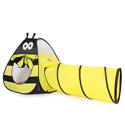 Tienda De Campaña 2 En 1 Pop Up Crawling Tunnel, Carpa Plegable Little Bee, Ball Pit para Niños, Niños, Niñas, Bebés Y Niños Pequeños, Casa De Juegos Interior/Exterior, Amarillo