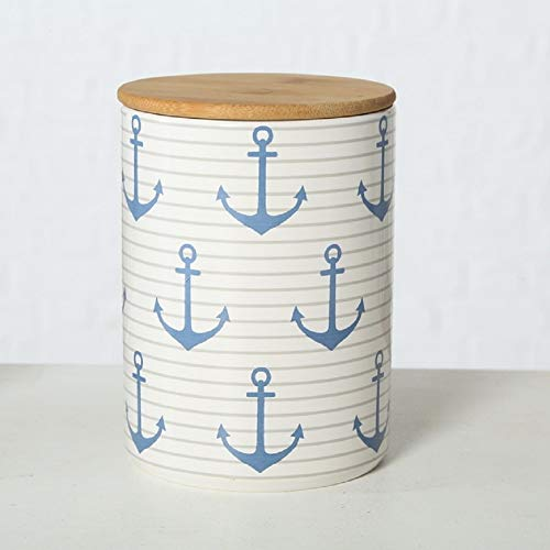Home Collection Steingut Vorratsdose mit Bambusdeckel und Silikondichtung (luftdicht) Anker blau mit Streifen H19cm D14cm