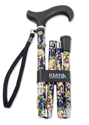 KMINA PRO - Bastones plegable para mayores, Bastones para ancianos, Baston plegable mujer/hombre, Flores Azules Plegable ✅