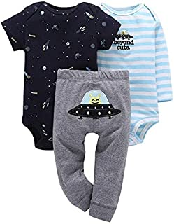 9 9M Long Sleeve Bodysuit Stripe+Romper+Pant Clothes Set for Baby boy 2020 New Born Girl Outfit Newborn Summer Clothing Babies Suit
