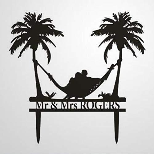 Beach Theme Honeymoon Hammock Wedding Cake Topper Palm Trees Cake Topper Mr And Mrs Cake Topper With Last Name Cake Topper