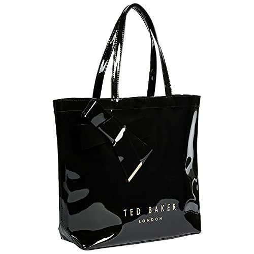Ted Baker Damen NICON Vinyl-Schleife Shopper, Schwarz, One Size