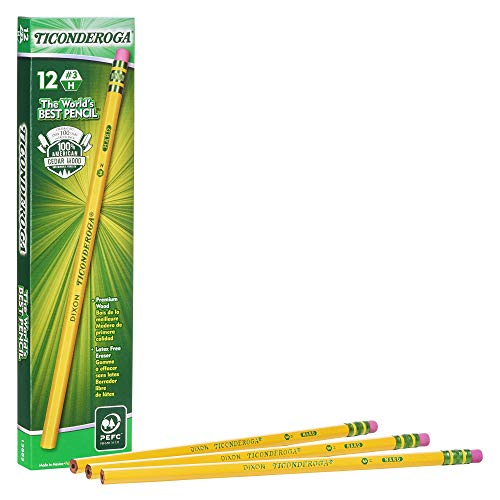 Ticonderoga Pencils, Wood-Cased #3 HB Hard/Fine, Yellow, 12-Pack (13883)