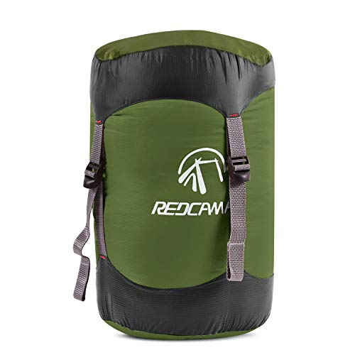 REDCAMP Compression Stuff Sack, Lightweight Sleeping Bag Compression Sack Great for Backpacking, Hiking and Camping, Army Green L