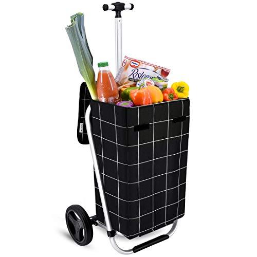 Einkaufstrolley Arifana in schwarz 35L mit Teleskopgriff - Transport-Wagen Trolley klappbar mit großen Rädern bis 25kg belastbar