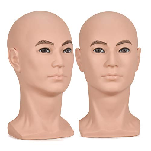 BoLi Male Mannequin Head Hat Display Wig Training Head Model Head Model Brown, 13.15 x 7.52 x 7.44inches