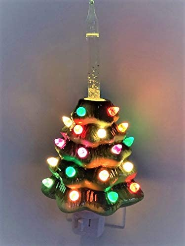new arrival Decorative Ceramic lowest Christmas Tree new arrival Bubble Light Night Light - Green online sale
