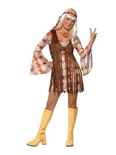Smiffys- Disfraz de Chica Guay de los 60, con Vestido y Chaleco de Flecos, Color Estampado, S - EU Tamaño 36-38 (Smiffy