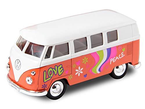 VW Bulli Hippie Flower Power Bus 12 cm Modellauto 1963 Volkswagen 1:34 T1 Modell Bully (56/0044 VW Bus Flower orange)
