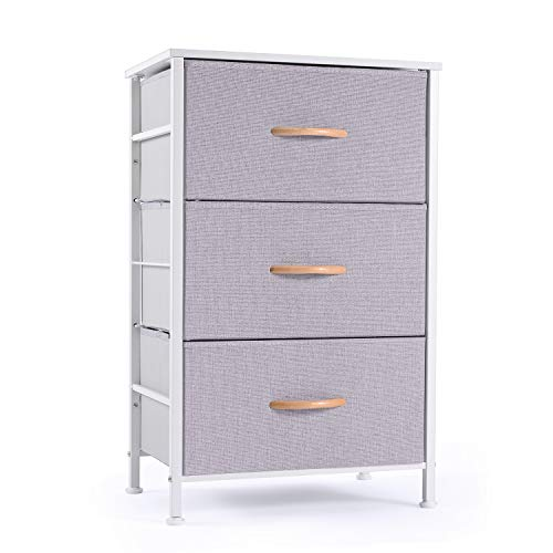 ROMOON Nightstand Chest with 3 Fabric Drawers, Bedside Furniture, Lightweight Accent Table, Storage Drawer Unit with Wood Top Fabric Bins for Bedroom, Hallway, Entryway, Closets, Nursery-Gray